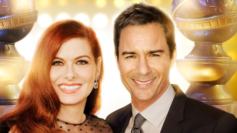 Debra Messing and Eric McCormack host the Golden Globe 75th Anniversary Special