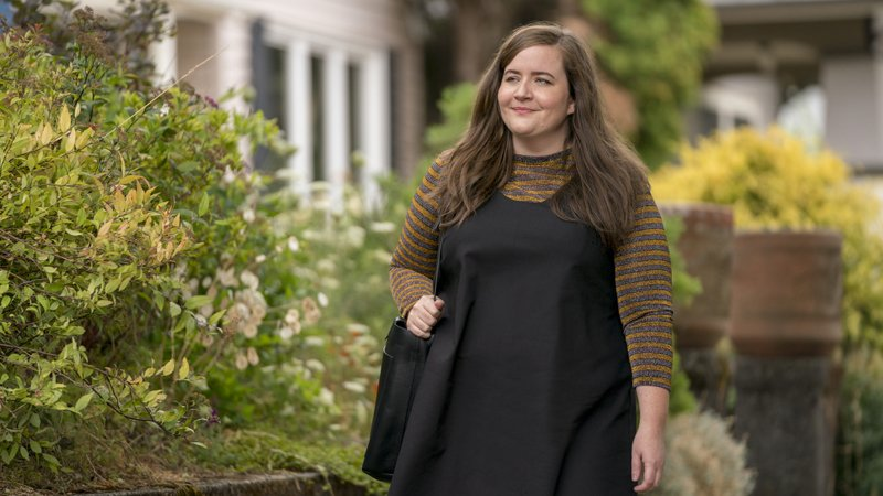 """Shrill -- """"Annie"""" -- Episode 101 -- When the morning after pill fails and aspiring journalist Annie winds up pregnant, she weighs the pros and cons of having a child with her hook-up buddy. The decision-making process forces Annie, with help from her best friend Fran, to figure out who she is and what she wants from her life. Annie (Aidy Bryant) shown. (Photo by: Allyson Riggs/Hulu)"""